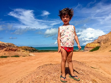 Child On The Beach, Beach, Landscape, Holidays