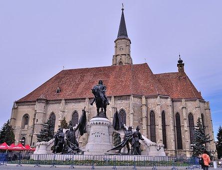 Cluj-napoca, Romania, Mathias Rex Square, Church