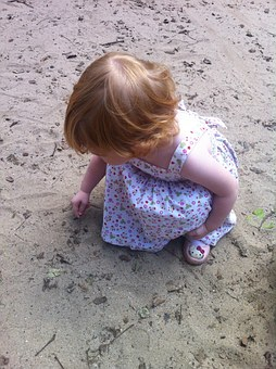 Child, Playing In The Park, Blonde, Sand, Little Girl