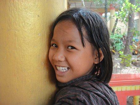 Girl, Nice, Laugh, Myanmar, Shy, Beauty, Happy