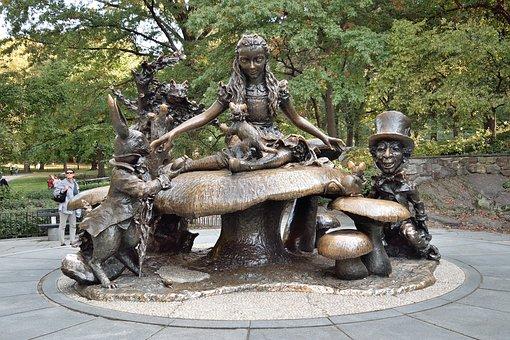 New York, Central Park, Statue, Alice, Wonderland