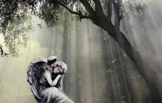Angel, Sculpture, Angel Figure, Statue, Thoughtful