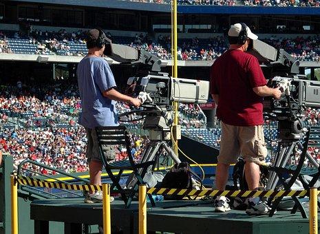 Television, Camera Men, Outdoors, Ballgame, Baseball