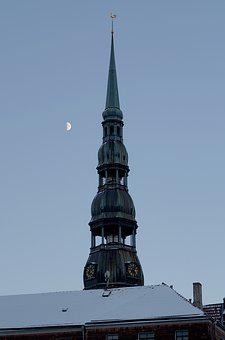Riga, Symbol Of Riga, Spire, Tower, Clock