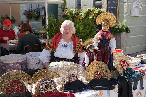 Woman, Costume, Doll, Sell, Market, Handmade, Hats