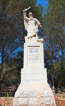 Statue, Sculpture, Inscription, Elijah, Prophet, Symbol