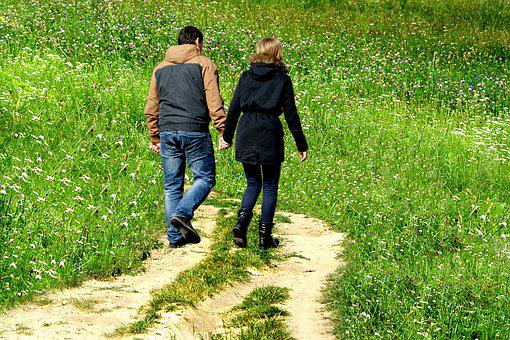 Grass, The Path, People, Sweethearts, Love, Para, Male