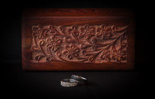Rings, Diamonds, Jewelry, Box Wood, Stone, Commitment
