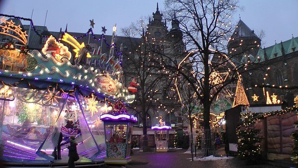 Christmas Market, Twilight, Bude, Carousel, Lighting