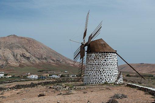 Windmill, Fuerteventura, Mountains, Landscape, Island