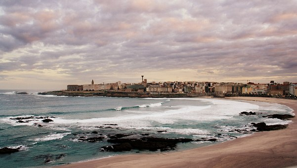 Coruña, City, Galicia, Riazor, Dawn, Sea, Temporary