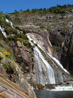 Coruna, Spain, Landscape, Waterfall, Mountain, Trees