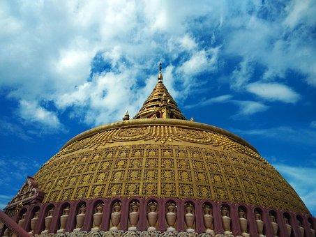 Pagoda, Religion, Burma, Blue, Gold, Dome, Zenith