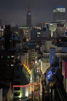 Street, Night, Lights, Asia, Car, Japan, Shinjuku