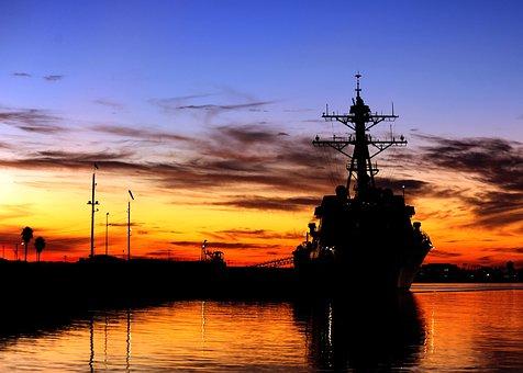 California, Sky, Clouds, Sunset, Sunrise, Ship, Navy