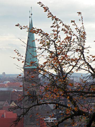 Autumn, Church, Steeple, View, Outlook, Nuremberg