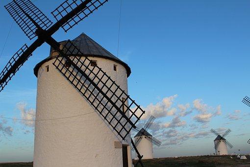 Stain, Windmills, Castile - La Mancha, Don Quixote, Sky