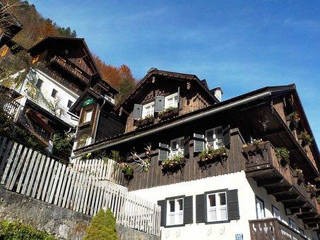 Homes, Slope, Landscape, Mountain, Hallstatt, Austria