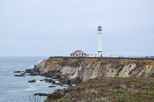 Usa, America, California, Lighthouse, Coast, Pacific
