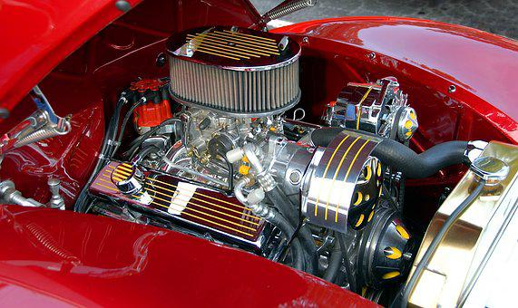Car Engine, Customized, Chrome, Shiny, Car, Automobile