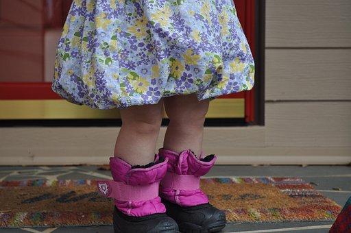 Child, Girl, Cute, Pink, Waiting, Rain Boots, Rainy Day