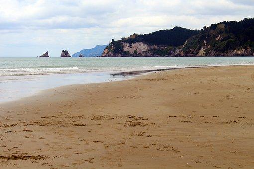 New Zealand, Beach, Cloudiness, Sea, Coast, Nature
