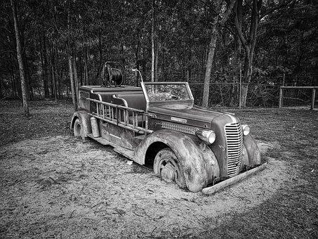 Fire Engine, Automobile, Truck, Retro, Antique, Vehicle