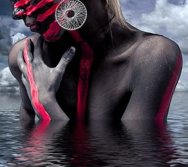 Nack, Sexy, Woman, Jewellery, Bodypaint, Face, Head
