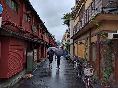 Rainy Day, Rain, Umbrella, Japan, Quiet, Calm, Serene