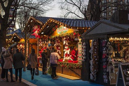 Christmas Market, Christmas, Game, Twilight, Light