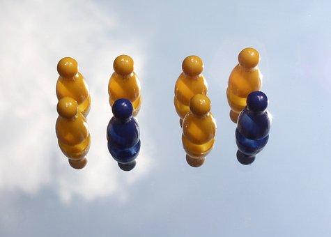 Spielfugur, Figures, Yellow, Blue, Play, Symbol, Team