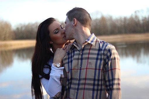 Model, Couple, Water, Kiss