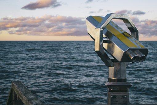 Beach, Binoculars, Ocean, Sea, Seashore, Telescope