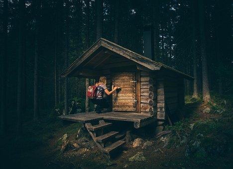 Bungalow, Cabin, Forest, House, Hut, Landscape, Light