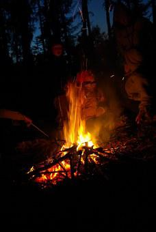 Night, Koster, Fire, Kids, Burn, Campfire, Forest