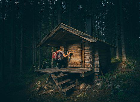 Bungalow, Cabin, Forest, House, Hut, Landscape, Light