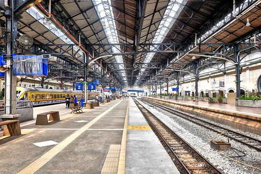 Indoors, Line, Platform, Railway, Station, Steel