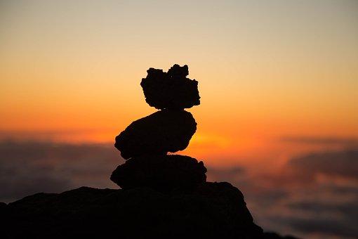 Beach, Dawn, Dusk, Rock Balancing, Rocks, Silhouette