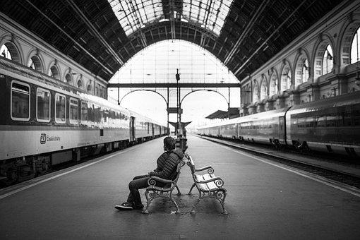 Adult, Bench, City, Indoors, Man, Person, Railway