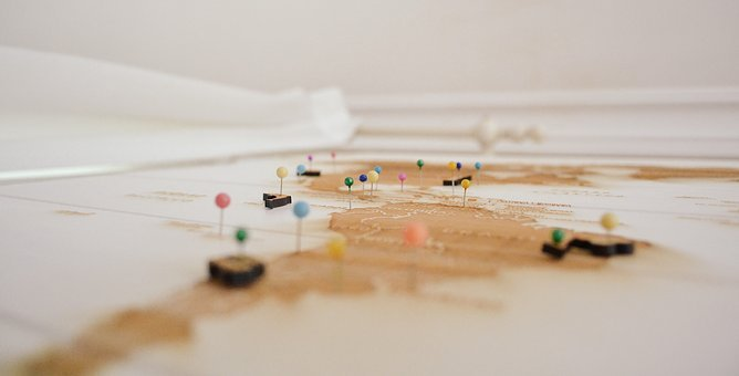 Depth Of Field, Headpins, Map, Markings, Pins, Travel