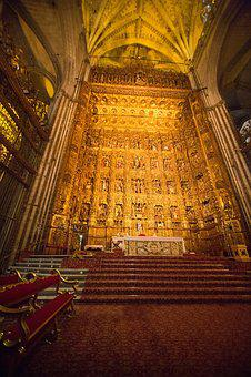 Dom, Seville, Church, Altar, Illuminated