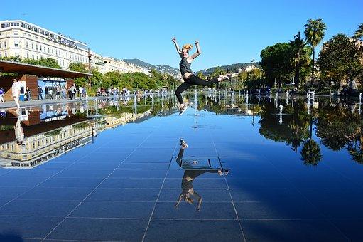 Fountain Mirror, Nice, Côte D'azur, Water Mirror