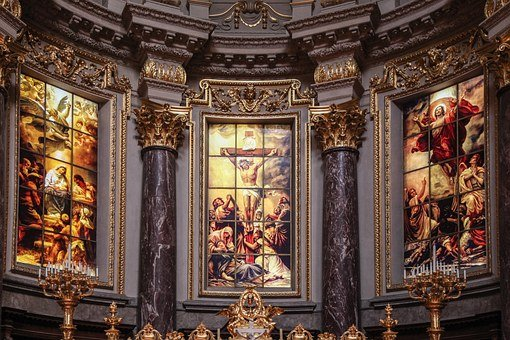 Church, Altar, Altarpiece, Glassart, Glass, Ceiling