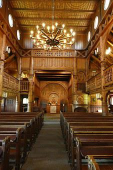Stave Church, Interior, Chandelier, Altar, Benches