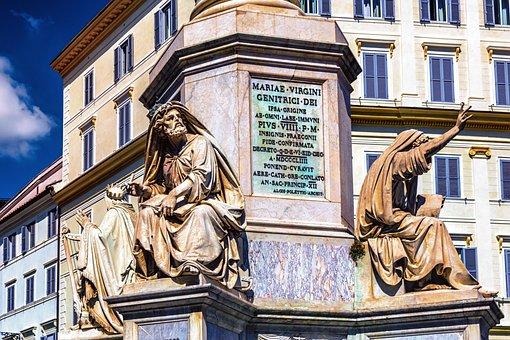 Fountain, Rome, Italy, Sculpture, Statue, Romans