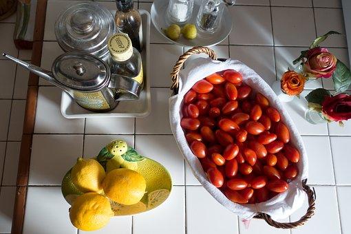 Lemon, Olive Oil, Jug, Tomato, Eggs Tomato, Basket