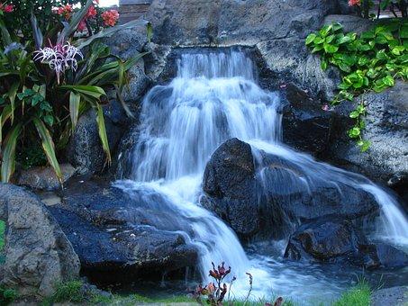 Waterfall, Hawaii, Oahu, Tropical, Water, Island