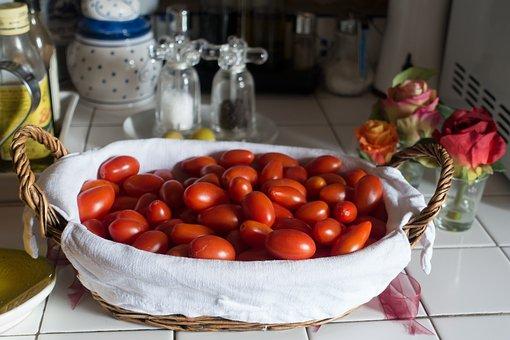 Tomato, Eggs Tomato, Basket, Salt, Pepper, Olive Oil