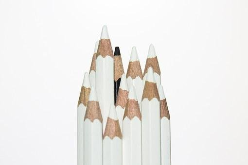 Pencil, Black, White, Difference, Different, Racism