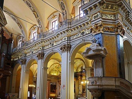 Cathedral, Nice, Nave, Aisle, Pillar, Parapet, Railing